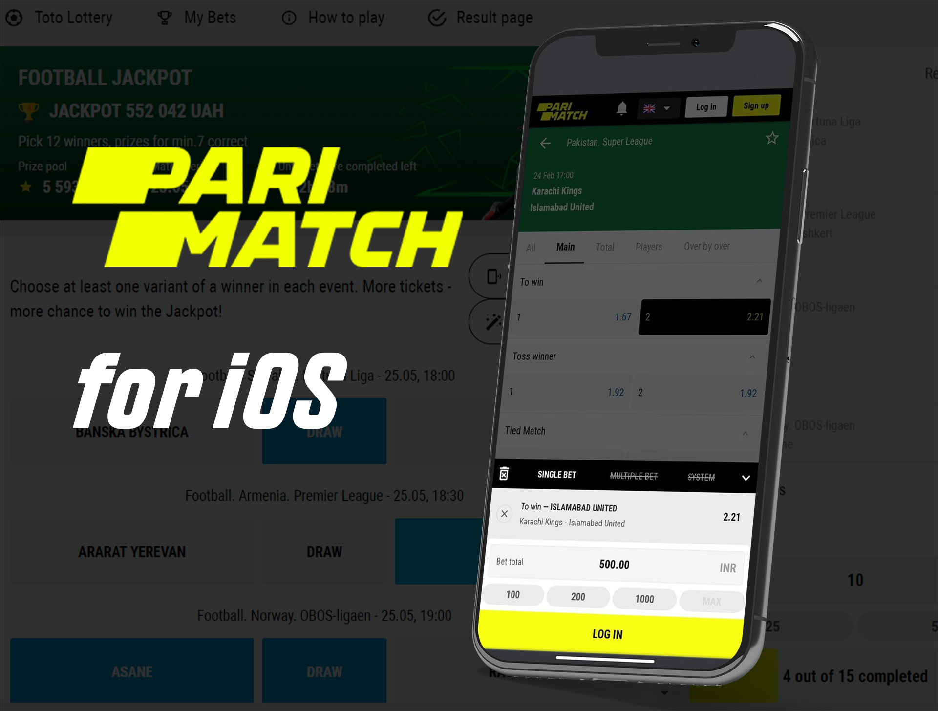 Download Parimatch for iphone and ipad devices.