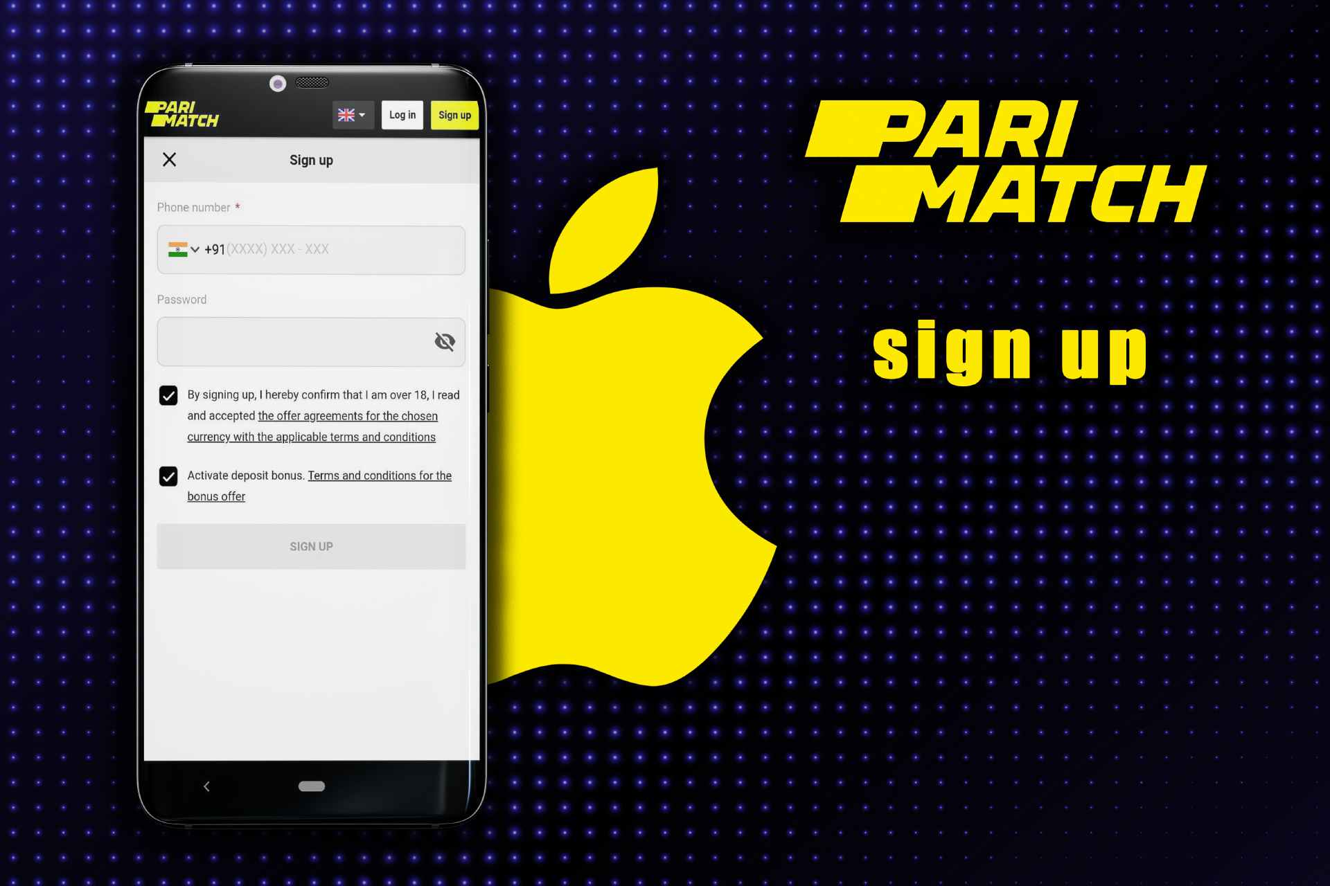 Press the 'Sign up' button and create a new account on Parimatch.
