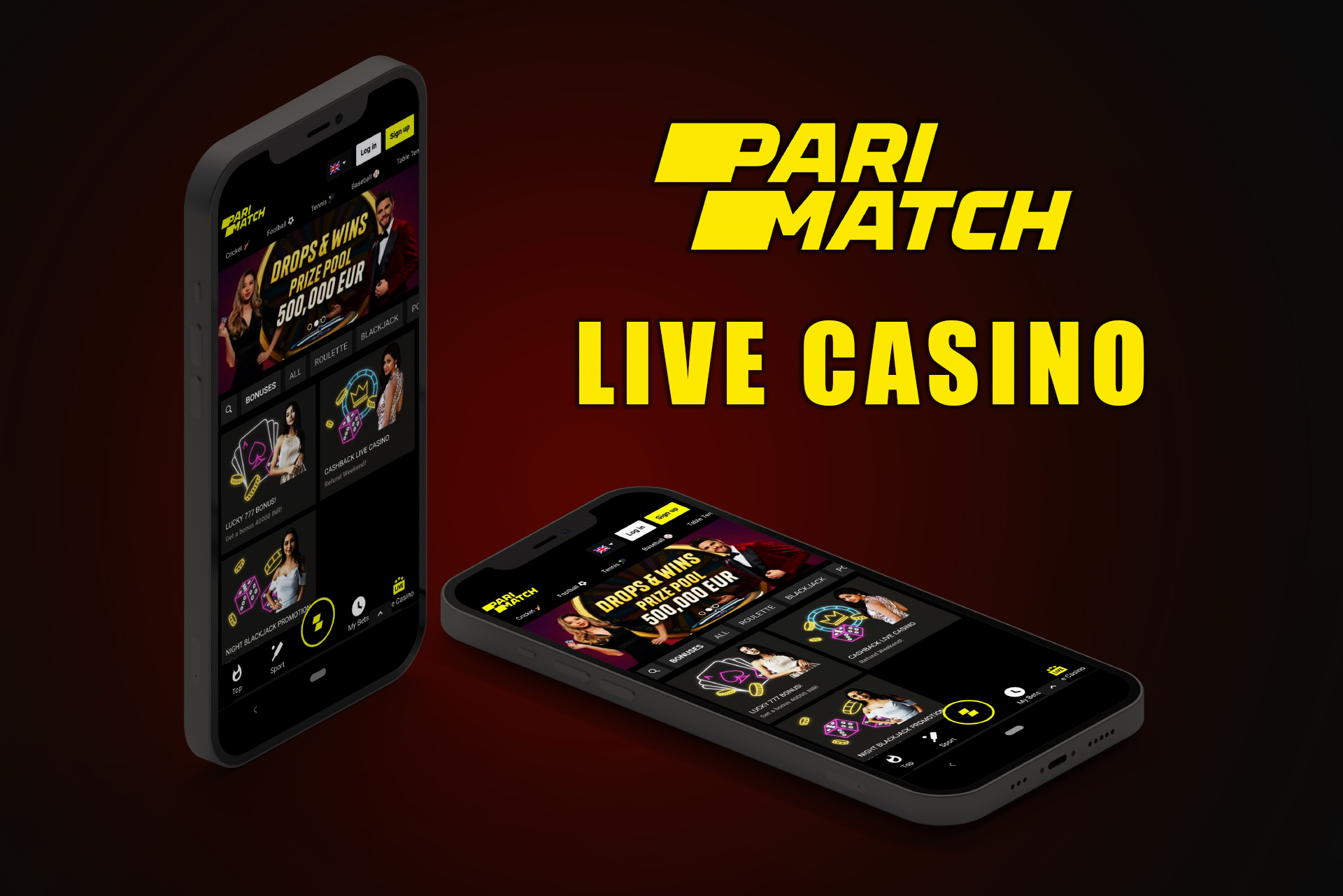For fans of games with a live dealer, there is the live casino section in the app.