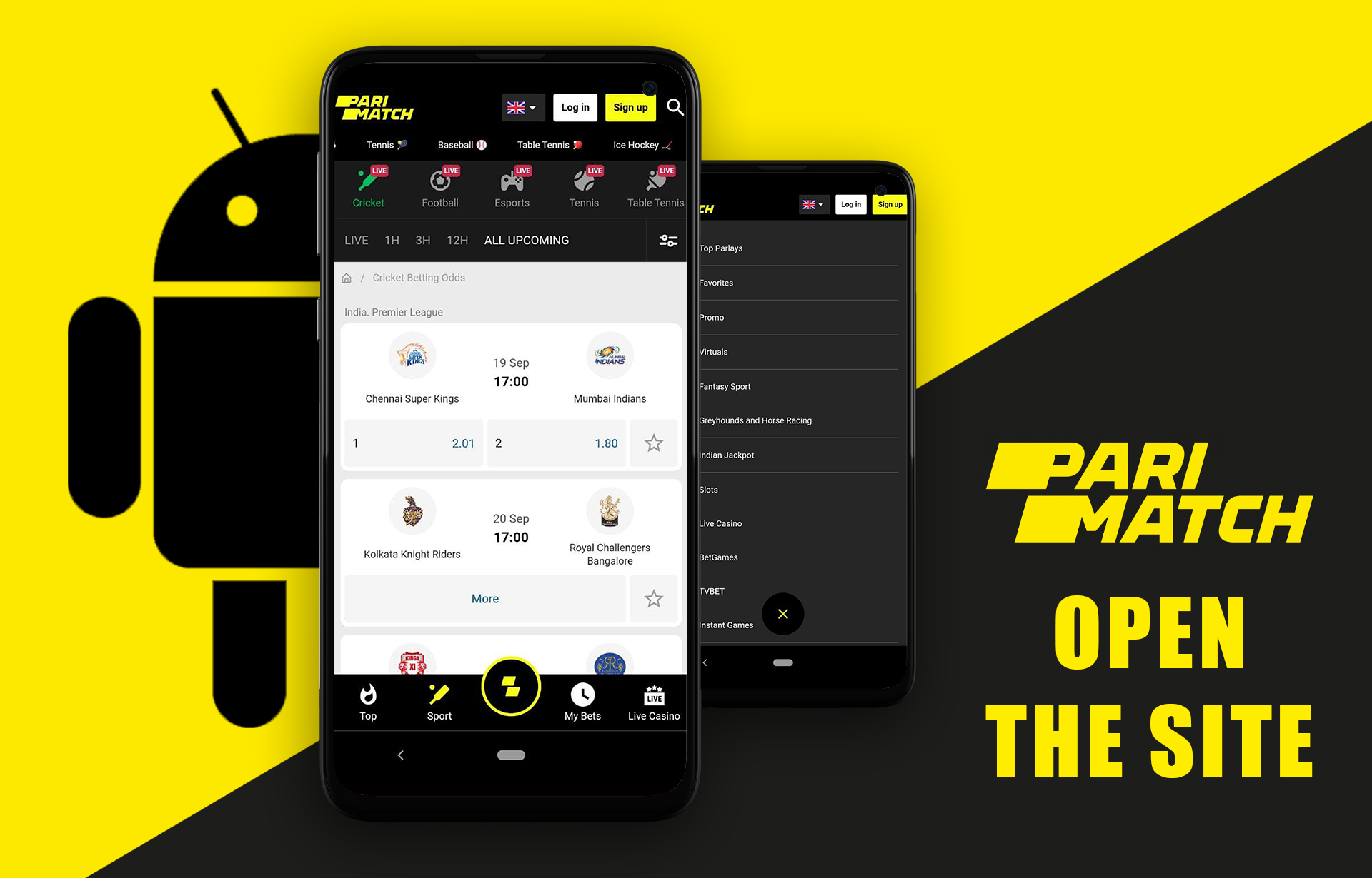 Open the official site of Parimatch in a mobile browser.