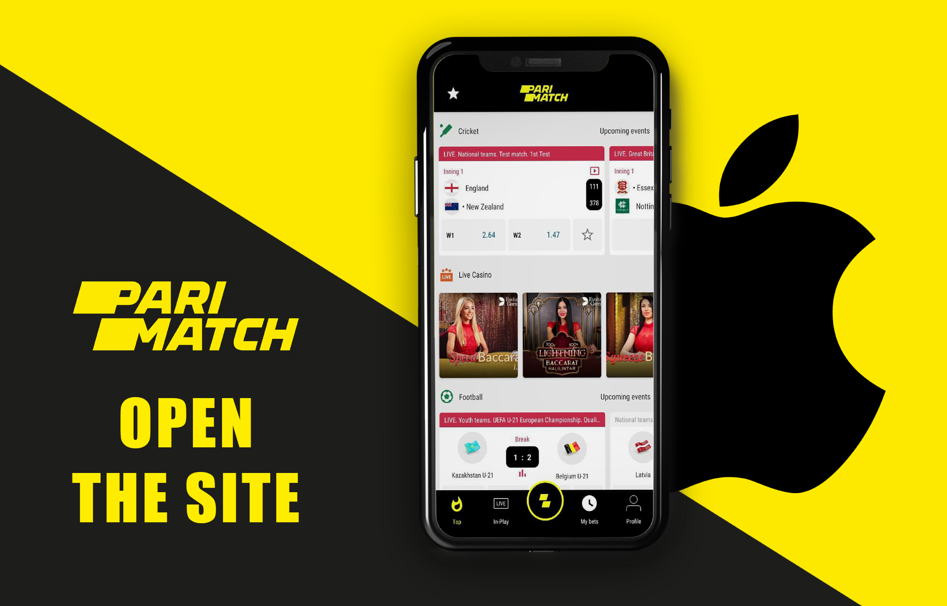 Open the website of Parimatch in a mobile browser on your iPhone.